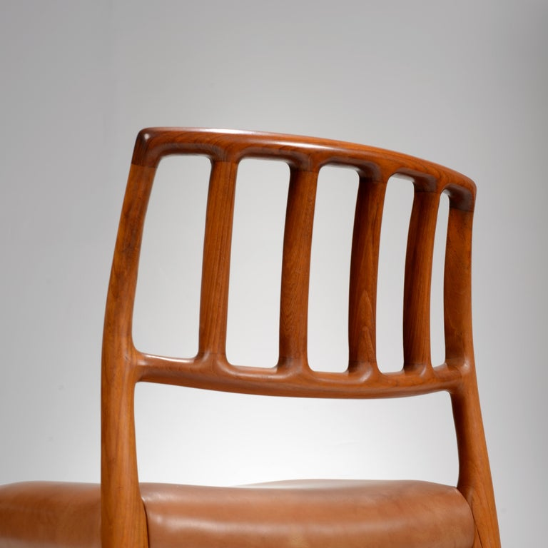 Niels Otto Møller Rosewood and Leather Dining Chairs, Model 83, Set of Six For Sale 6
