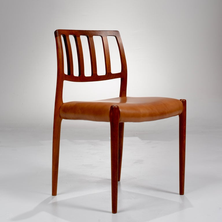 Scandinavian Modern Niels Otto Møller Rosewood and Leather Dining Chairs, Model 83, Set of Six For Sale