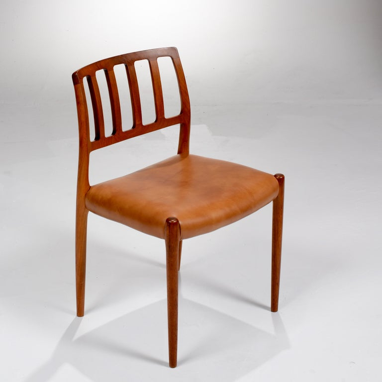 Danish Niels Otto Møller Rosewood and Leather Dining Chairs, Model 83, Set of Six For Sale