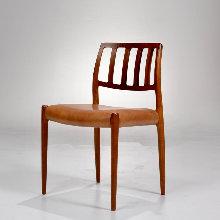 Late 20th Century Niels Otto Møller Rosewood and Leather Dining Chairs, Model 83, Set of Six For Sale