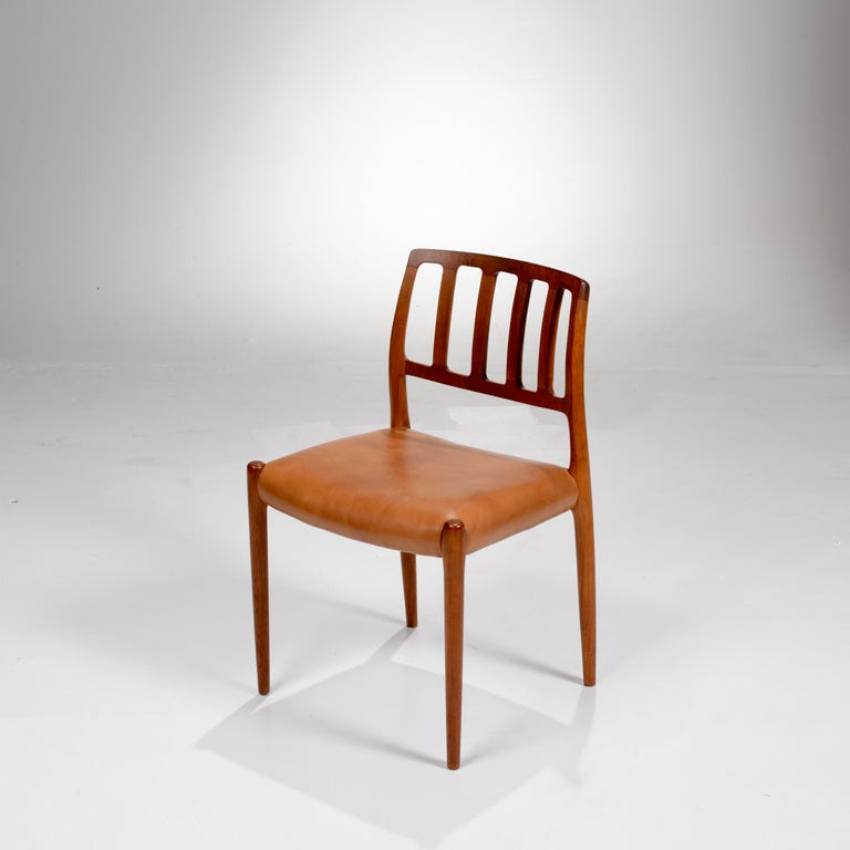 Teak Niels Otto Møller Rosewood and Leather Dining Chairs, Model 83, Set of Six For Sale