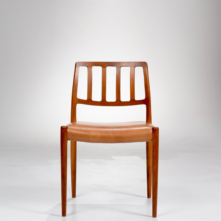 Niels Otto Møller Rosewood and Leather Dining Chairs, Model 83, Set of Six For Sale 1