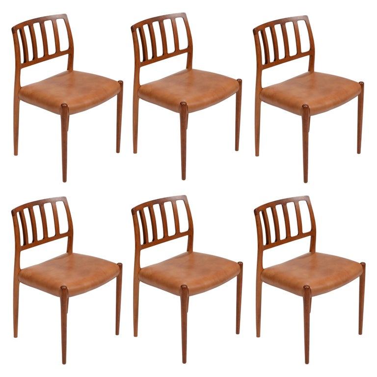 Niels Otto Møller Rosewood and Leather Dining Chairs, Model 83, Set of Six For Sale