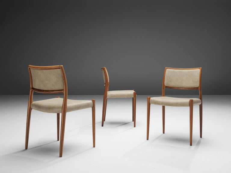 Niels OttoMøller Set of Six Dining Chairs Model 80 in Teak In Good Condition For Sale In Waalwijk, NL