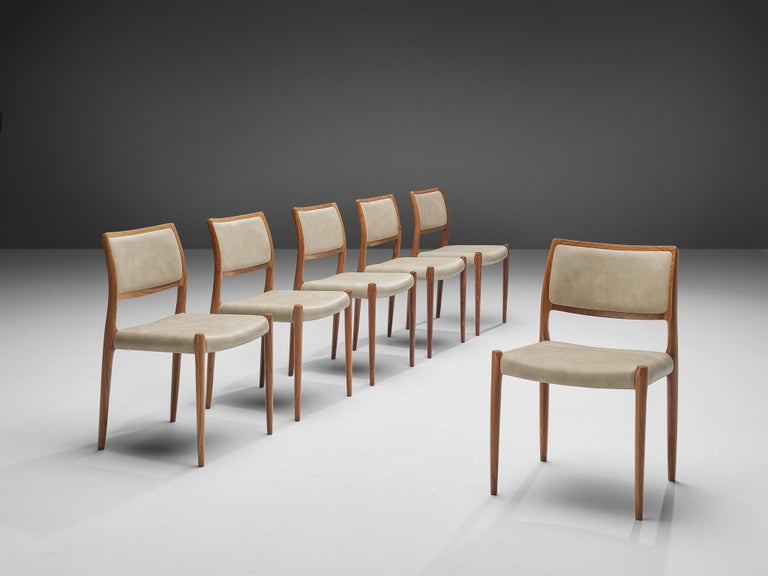 Faux Leather Niels OttoMøller Set of Six Dining Chairs Model 80 in Teak For Sale
