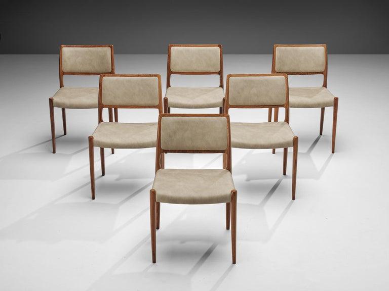 Niels OttoMøller Set of Six Dining Chairs Model 80 in Teak For Sale 2