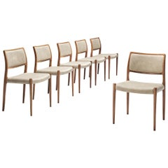 Niels Otto Møller Set of Six Dining Chairs Model 80 in Teak