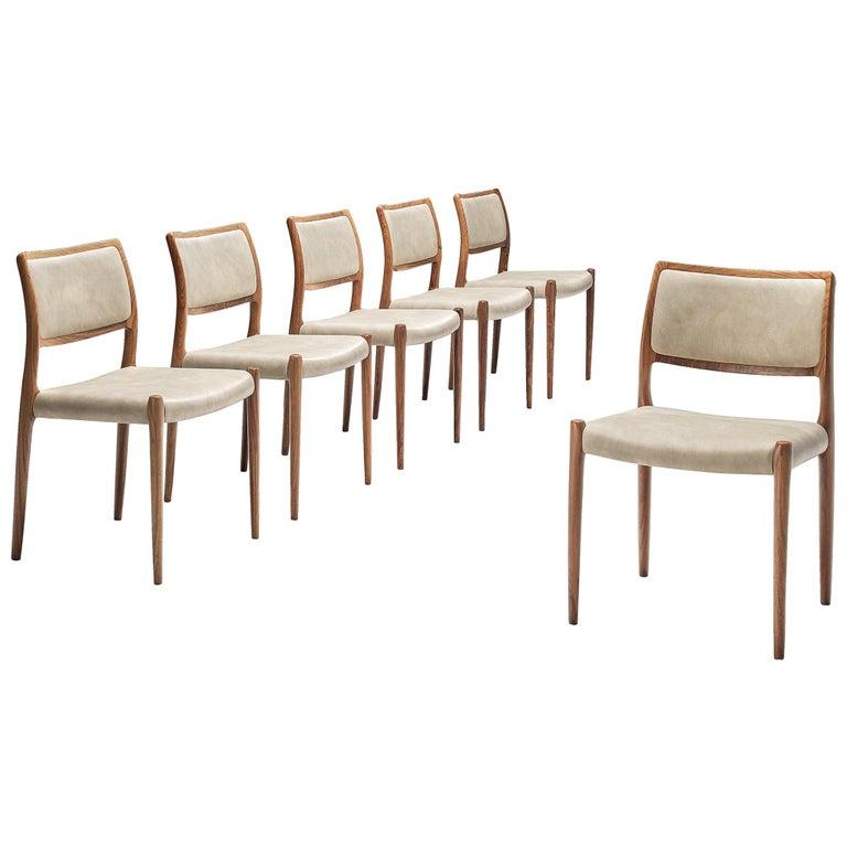 Niels OttoMøller Set of Six Dining Chairs Model 80 in Teak For Sale