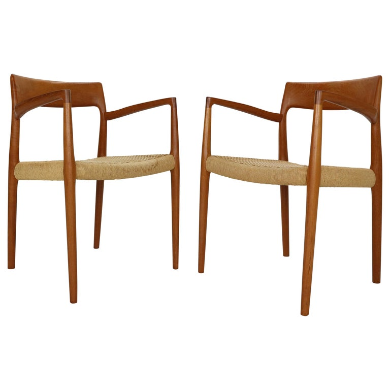 """Niels Otto Møller Set of Two Armchairs """"Model- 57"""" for J.L. Møllers, 1959 For Sale"""