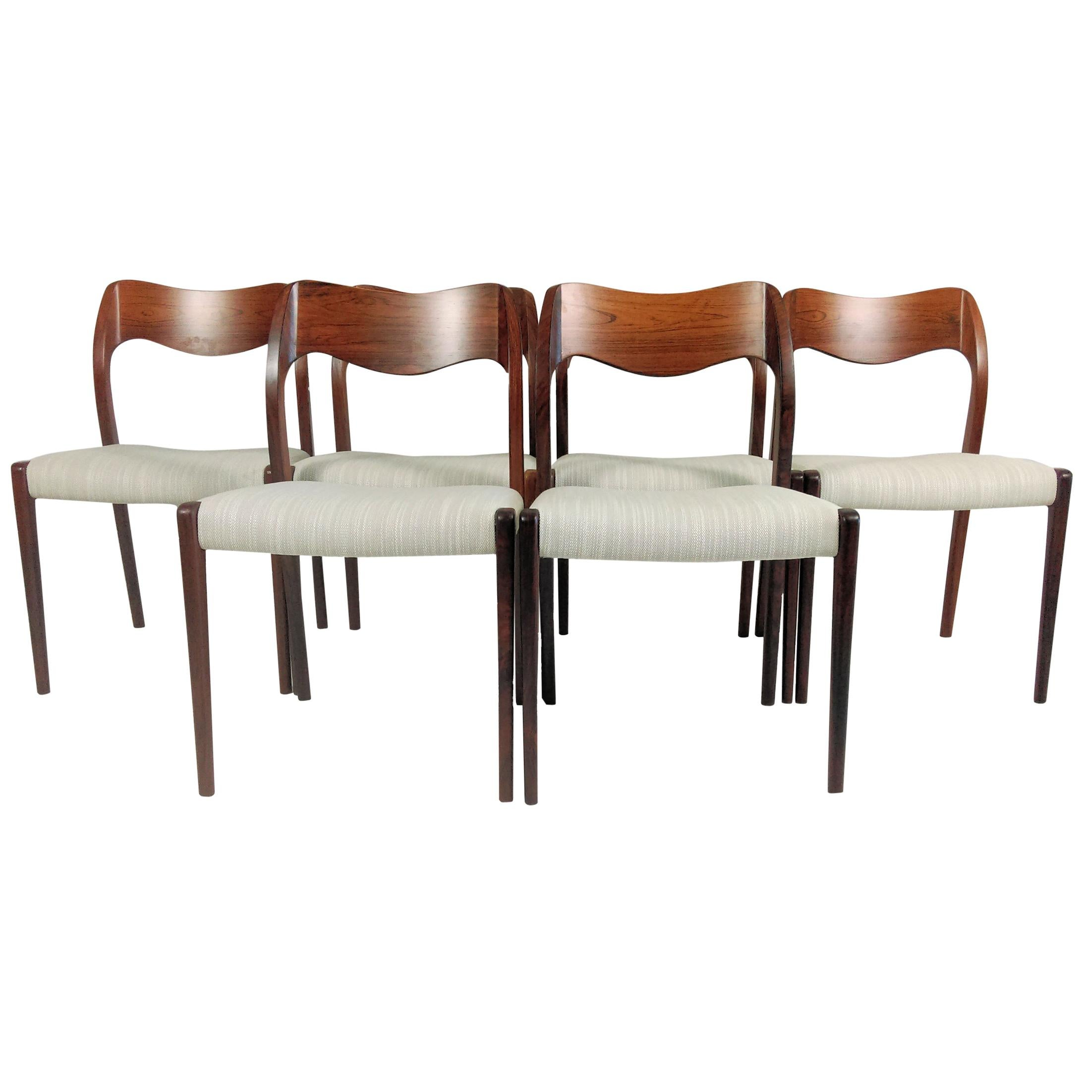 Niels Otto Møller Six Refinished Rosewood Dining Chairs, Inc. Reupholstery