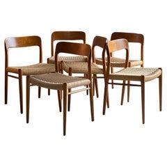 Niels Otto Moller Dining Chairs Set of Six Model 75 JL Moller Mobelfabrik Danish