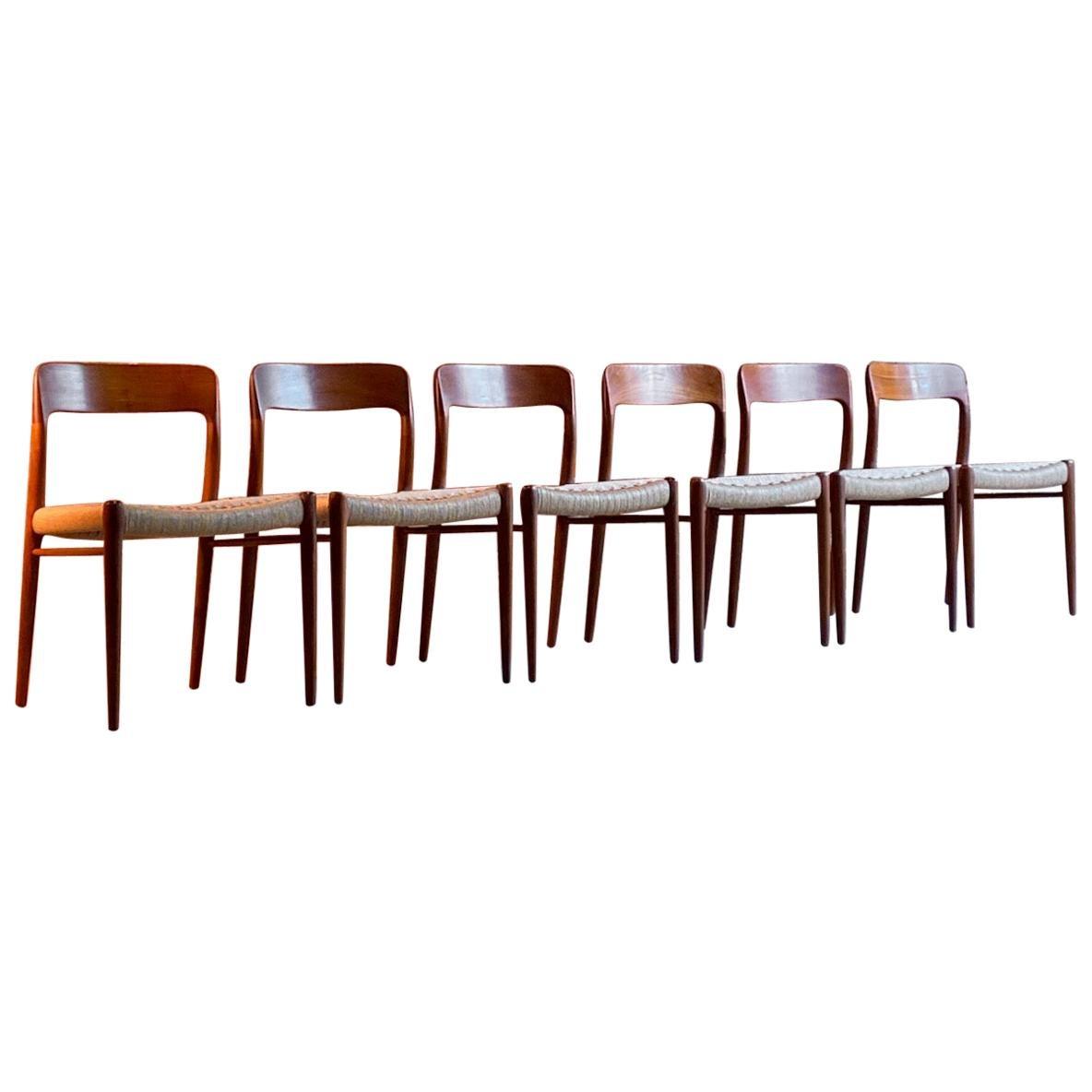 Niels Otto Moller Dining Chairs Set of Six Model 75 JL Moller Møbelfabrik Danish