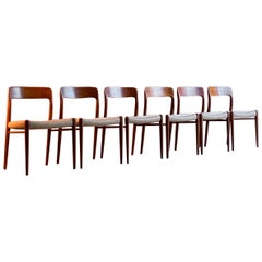 Niels Otto Moller Dining Chairs Set of Six Model 75 JL Moller Møbelfabrik Danish