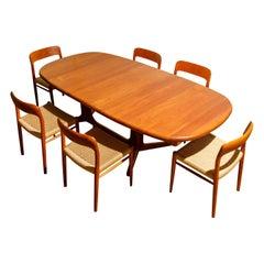 Niels Otto Moller for J.L. Møllers Møbelfabrik Teak Dining Set, c 1970, Signed