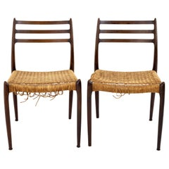 Niels Otto Moller Mid Century Danish Rosewood Dining Chairs, Pair