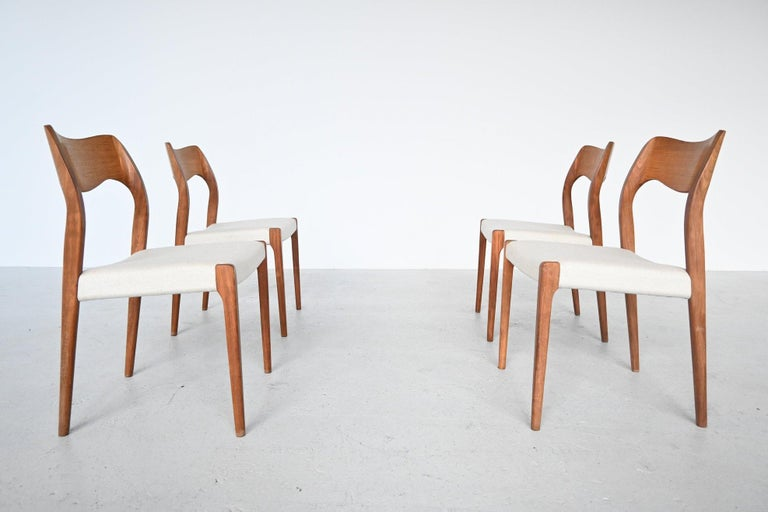 Mid-Century Modern Niels Otto Moller Model 71 Dining Chairs, Denmark, 1951