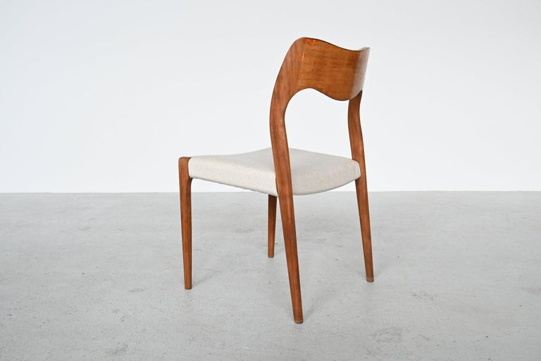 Upholstery Niels Otto Moller Model 71 Dining Chairs, Denmark, 1951