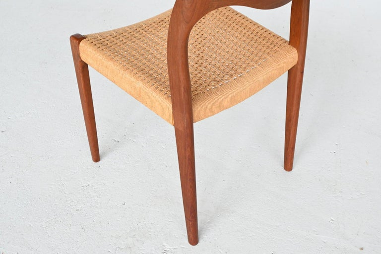 Niels Otto Moller Model 71 Teak Paper Cord Dining Chairs, Denmark, 1960 3
