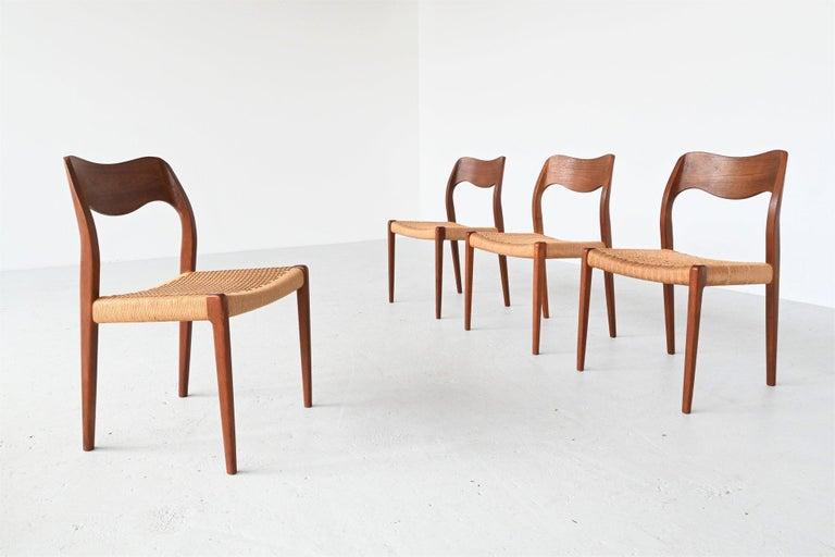 Mid-Century Modern Niels Otto Moller Model 71 Teak Paper Cord Dining Chairs, Denmark, 1960