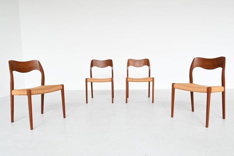 Danish Niels Otto Moller Model 71 Teak Paper Cord Dining Chairs, Denmark, 1960