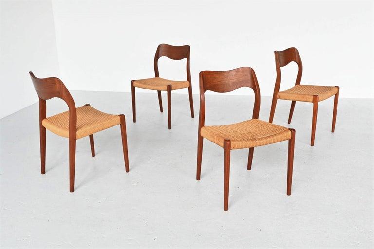 Niels Otto Moller Model 71 Teak Paper Cord Dining Chairs, Denmark, 1960 In Good Condition In Etten-Leur, NL
