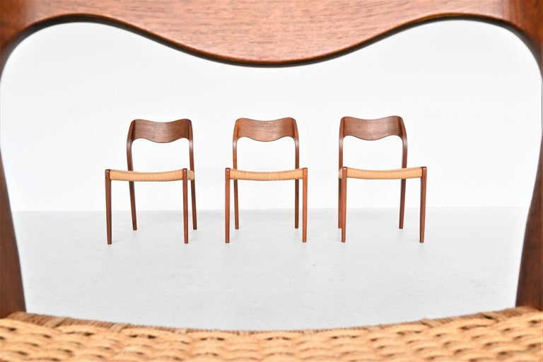 Mid-20th Century Niels Otto Moller Model 71 Teak Paper Cord Dining Chairs, Denmark, 1960