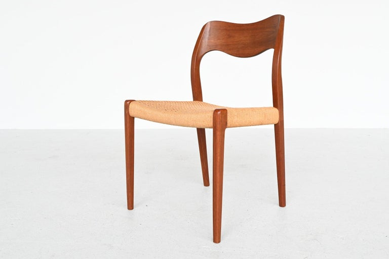 Papercord Niels Otto Moller Model 71 Teak Paper Cord Dining Chairs, Denmark, 1960