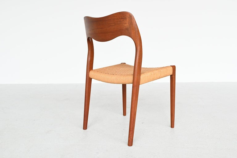 Niels Otto Moller Model 71 Teak Paper Cord Dining Chairs, Denmark, 1960 1