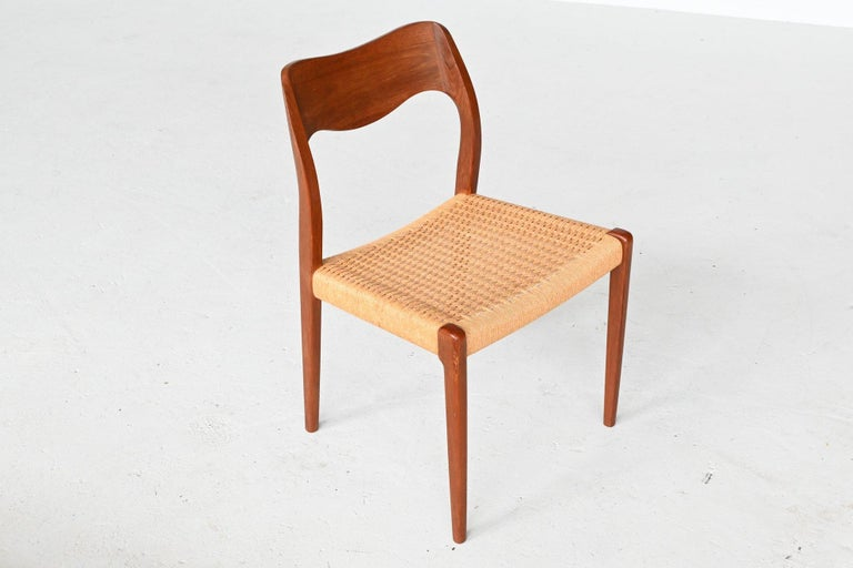 Niels Otto Moller Model 71 Teak Paper Cord Dining Chairs, Denmark, 1960 2