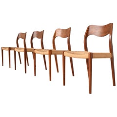 Niels Otto Moller Model 71 Teak Paper Cord Dining Chairs, Denmark, 1960