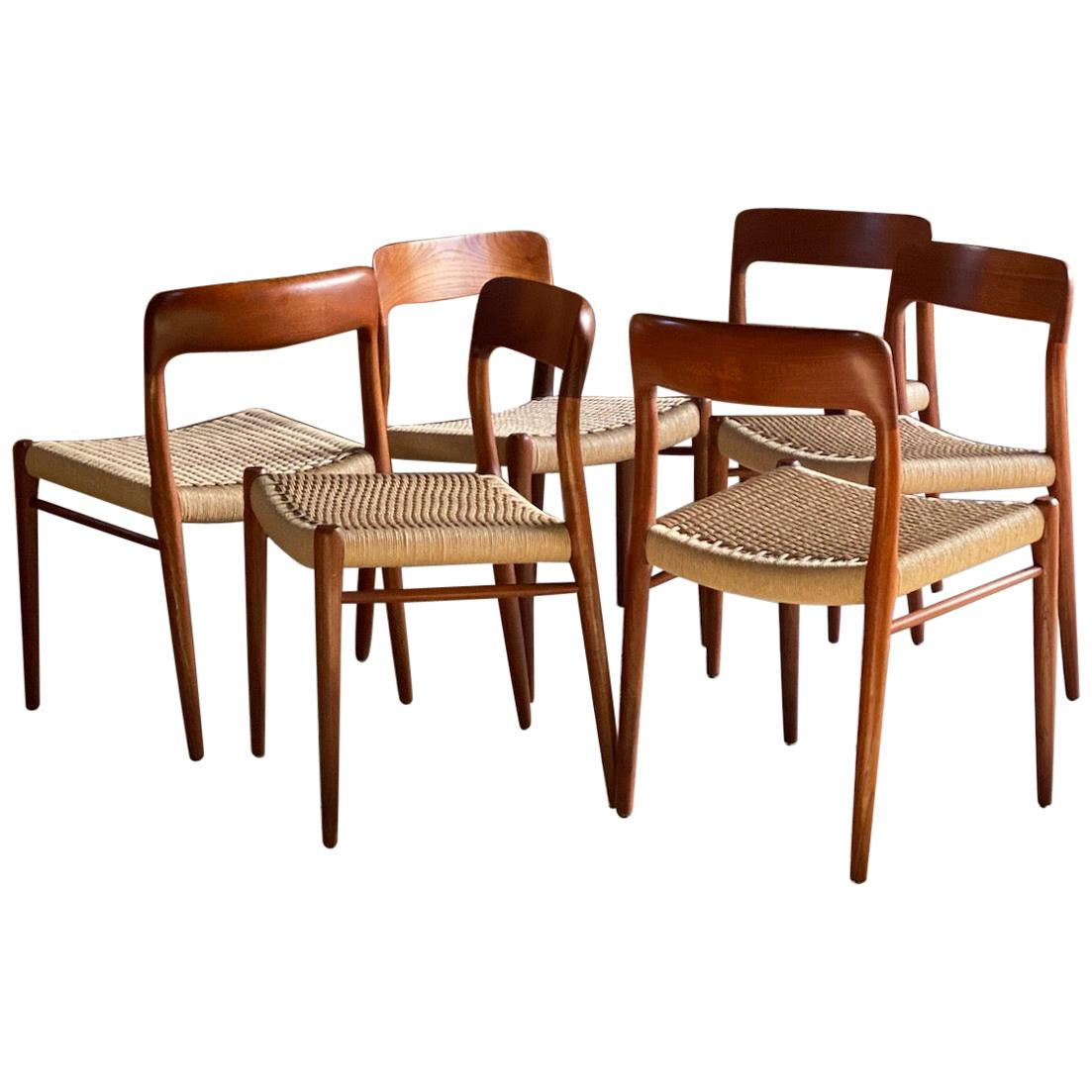 Niels Otto Moller Model 75 Dining Chairs Set of 6 JL Moller Møbelfabrik Danish