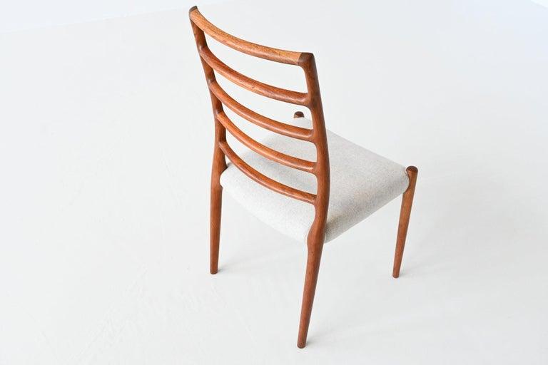Niels Otto Moller Model 82 Teak Dining Chairs J.L. Moller Mobelfabrik Denmark 19 For Sale 3
