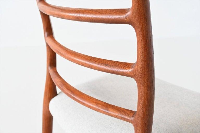 Niels Otto Moller Model 82 Teak Dining Chairs J.L. Moller Mobelfabrik Denmark 19 For Sale 4