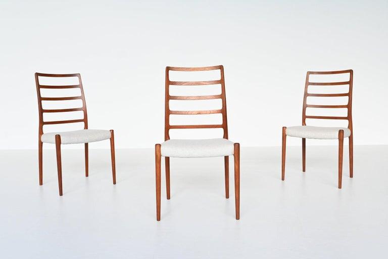 Mid-Century Modern Niels Otto Moller Model 82 Teak Dining Chairs J.L. Moller Mobelfabrik Denmark 19 For Sale