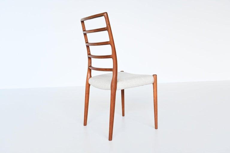 Mid-20th Century Niels Otto Moller Model 82 Teak Dining Chairs J.L. Moller Mobelfabrik Denmark 19 For Sale