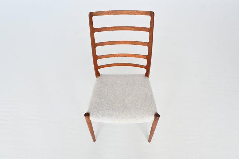 Fabric Niels Otto Moller Model 82 Teak Dining Chairs J.L. Moller Mobelfabrik Denmark 19 For Sale