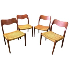 Niels Otto Moller Set of Four Midcentury Model 71 Paper Cord Dining Chairs