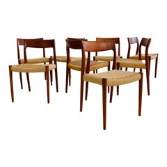Niels Otto Moller Teak Dining Chair Model No. 77 Set of Eight, Denmark, 1960s