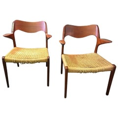 Niels Otto Moller Two Mid-Century Modern Danish Model 55 Armchairs