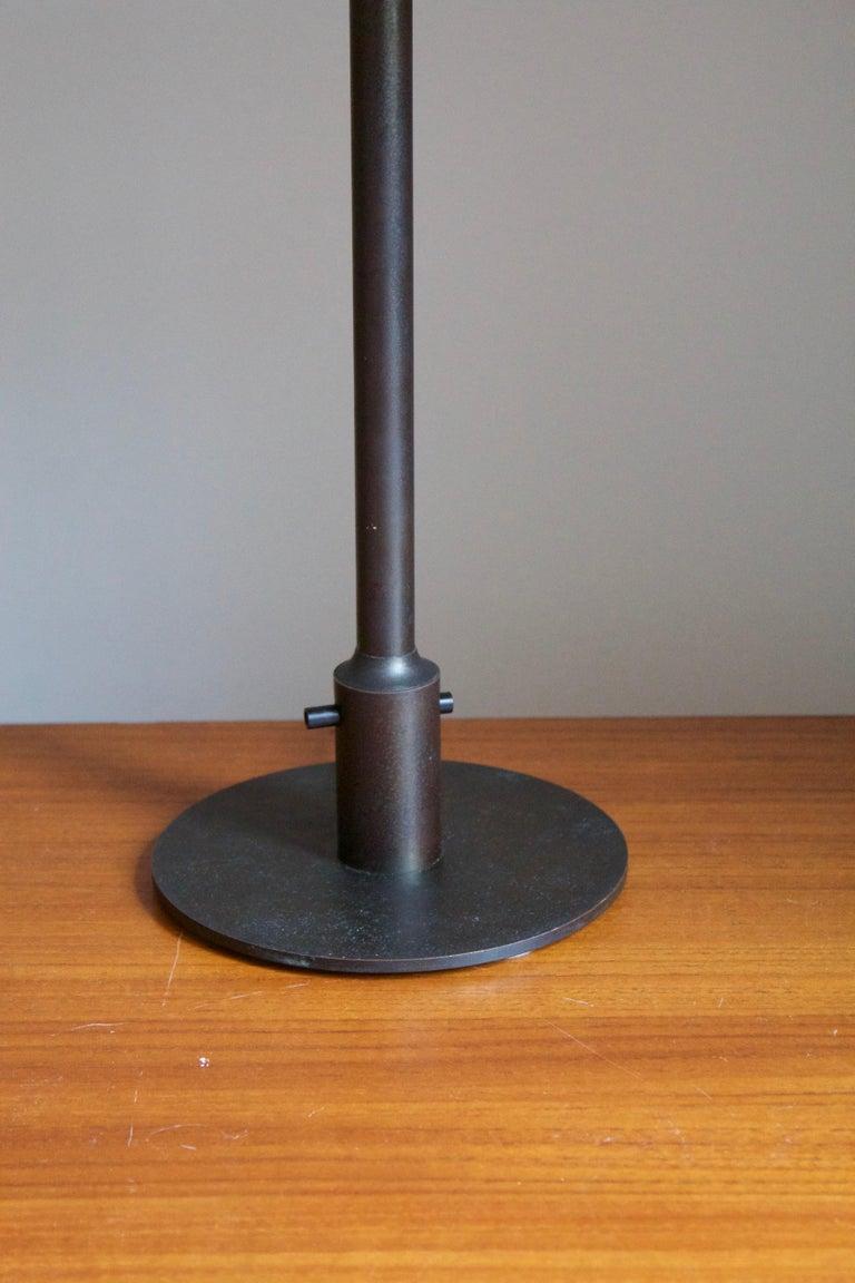 Danish Niels Rasmussen Thykier, Early Table Lamp, Brass, Waxed paper, Denmark, 1960s For Sale