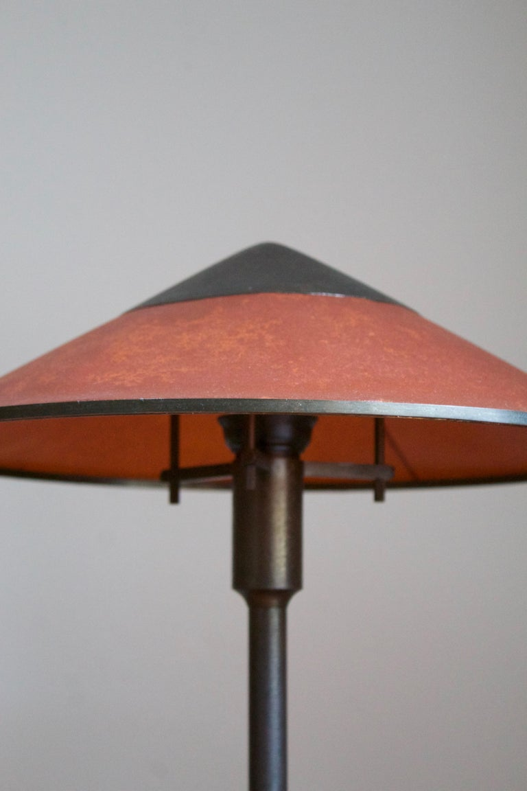 Niels Rasmussen Thykier, Early Table Lamp, Brass, Waxed paper, Denmark, 1960s In Good Condition For Sale In West Palm Beach, FL
