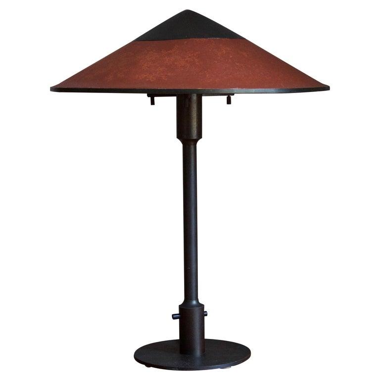 Niels Rasmussen Thykier, Early Table Lamp, Brass, Waxed paper, Denmark, 1960s For Sale