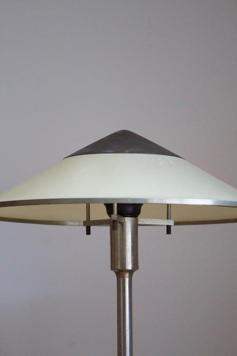 Brass Niels Rasmussen Thykier, Early Table Lamp, Nickel, Waxed paper, Denmark, 1930s For Sale