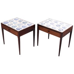 Niels Vodder Pair of Side Tables in Rosewood and Antique Delft Tiles