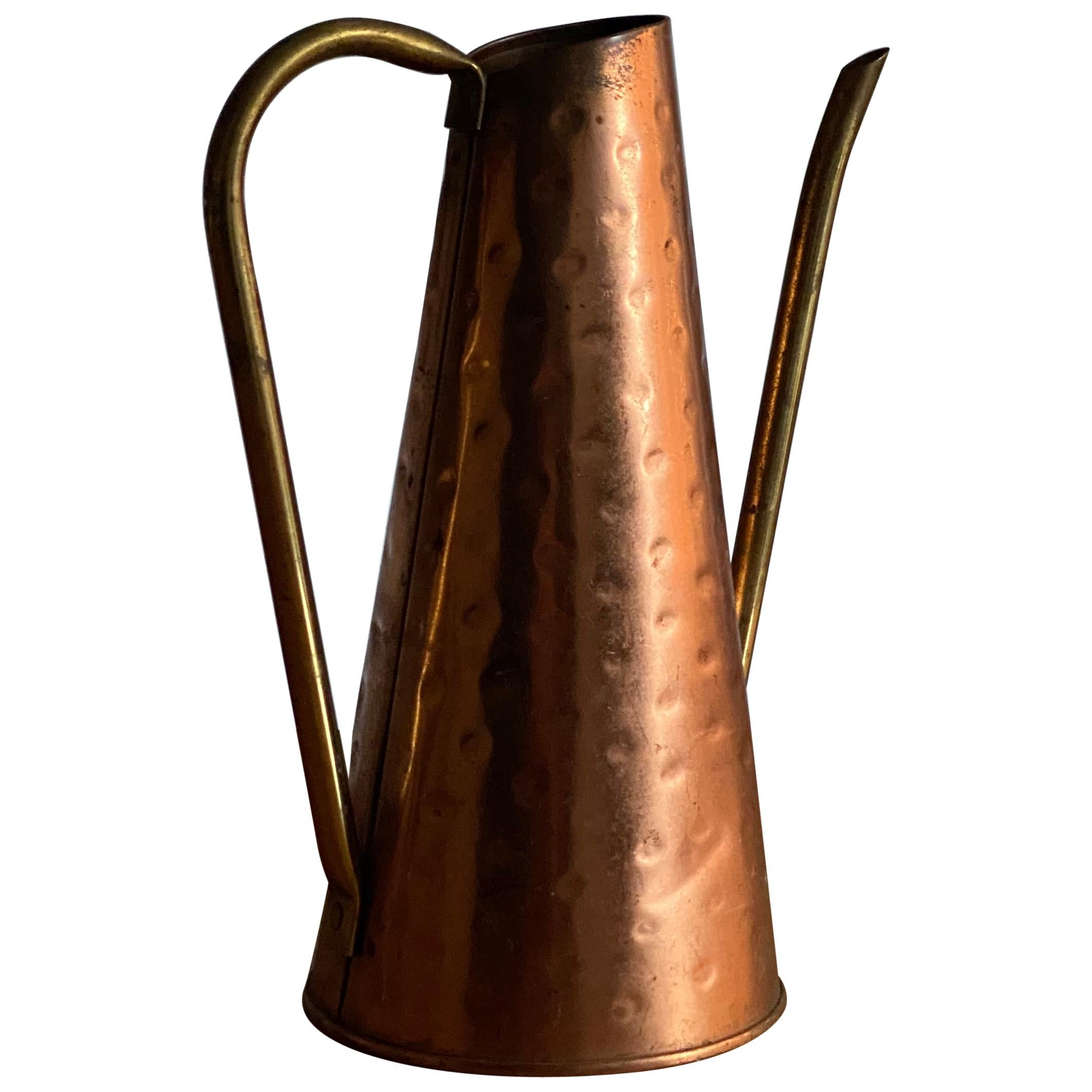 Nielsen, Modernist Studio Watering Can, Copper and Brass, Denmark, circa 1960s