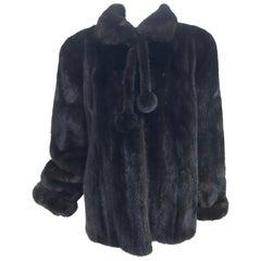 Nieman Marcus Black Mink Fur Jacket with Pom Pom Ties