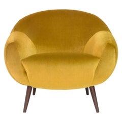 Niemeyer Armchair, Velvet and Brown Oak, Insidherland by Joana Santos Barbosa