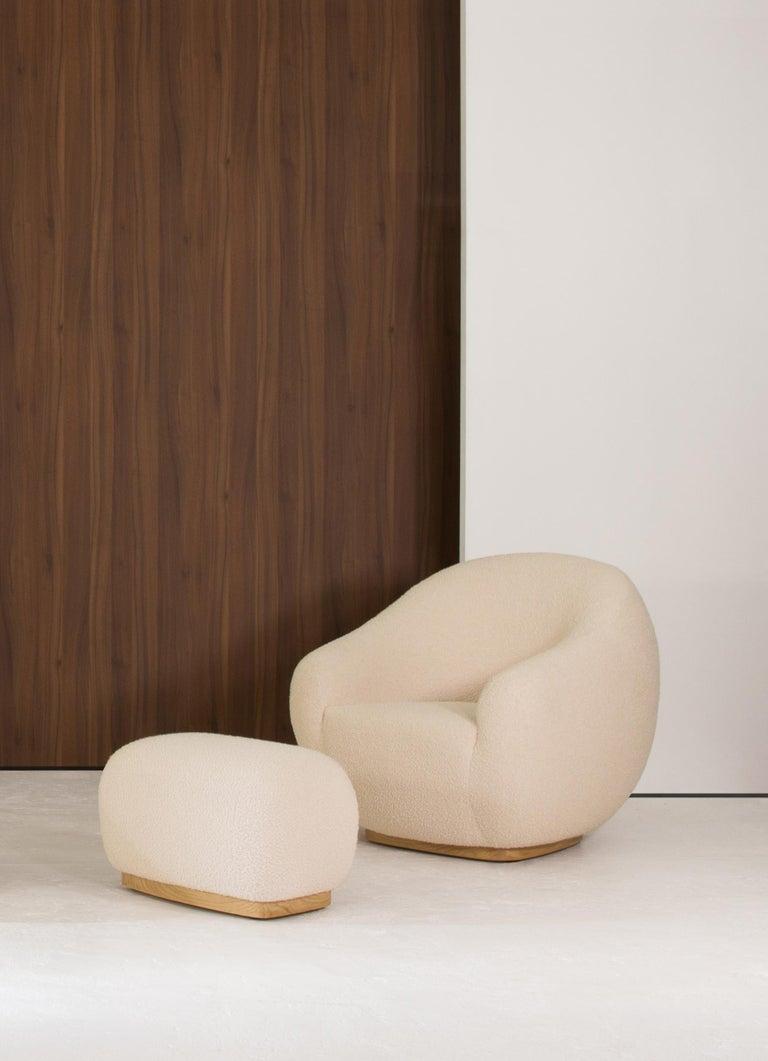 Modern Niemeyer II Armchair and Stool, Bouclé, InsidherLand by Joana Santos Barbosa For Sale