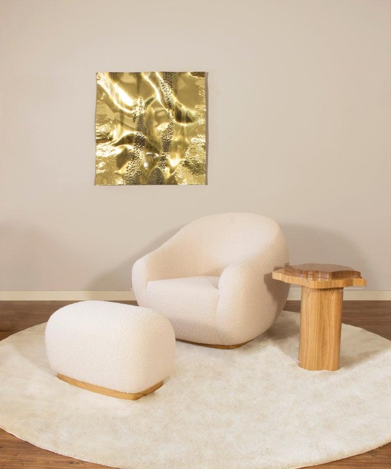 Portuguese Niemeyer II Armchair and Stool, Bouclé, InsidherLand by Joana Santos Barbosa For Sale