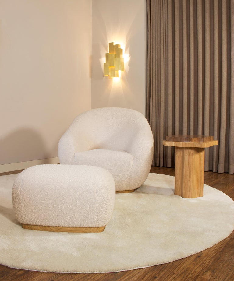 Woodwork Niemeyer II Armchair and Stool, Bouclé, InsidherLand by Joana Santos Barbosa For Sale